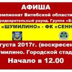 ФК «Сенно» ждет болельщиков 6 августа на городском стадионе